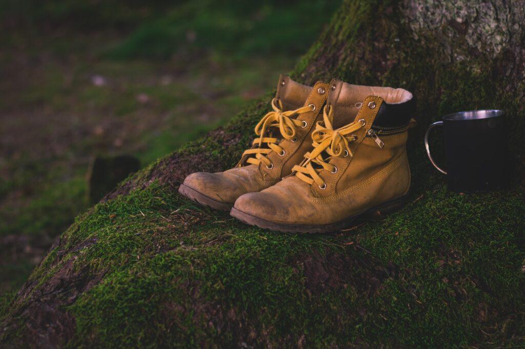 hiking boots outside